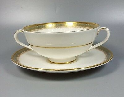 Royal Doulton Clarendon H4993 Cream Soup Coupe / Cup And Saucer (Perfect)