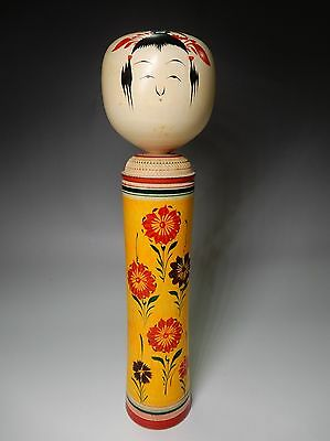 Unique Japanese Naruko Kokeshi Wood Doll Purple Red flowers by Artist 30.5cm 12""