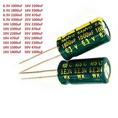 6.3V-50V 470uF-3300uF Sanyo High Frequency LOW ESR Radial Electrolytic Capacitor