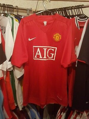 Manchester United Football Shirt 2007/08 Home Large ~ Scholes 18