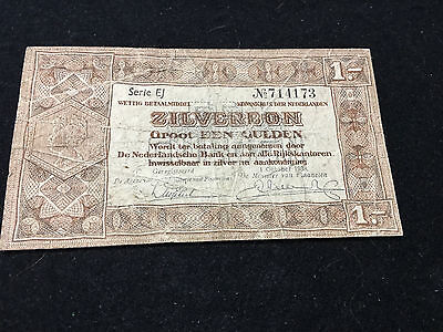 Old Netherlands Paper Money Year 1938 1 Zilverbon VG-F