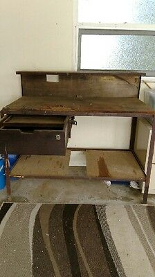 Vintage Work Bench, Old Bench, Steel Frame With Wooden Top