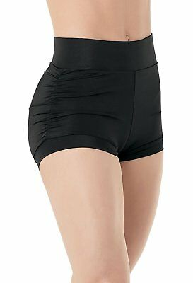 Balera Dance Booty Shorts with Ruched Sides Black Adult Small