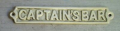 CAPTAIN'S BAR Brass Sign Plaque Nautical Ship Boat Decor NEW