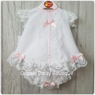 Baby Girls Gorgeous Spanish Romany Style White Dress & Bloomers ☆