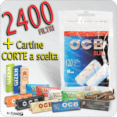 2400 FILTRI OCB SLIM 6mm + CARTINE CORTE RIZLA BIANCHE BRAVO ENJOY SMOKING GIZEH