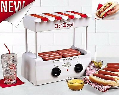 Electric Hotdog Cooker Warmer Grill Roller Machine Rolling Sausage Bun Hot Dog