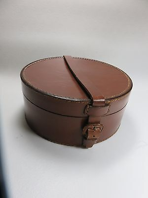 """Antique Leather collar box Early 1900's  3 """" tall & 6 7/8"""" Diameter"""
