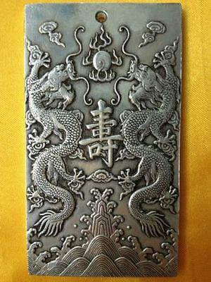 "Old Chinese""Ssangyong longevity "" tibet Silver Bullion thanka amulet"