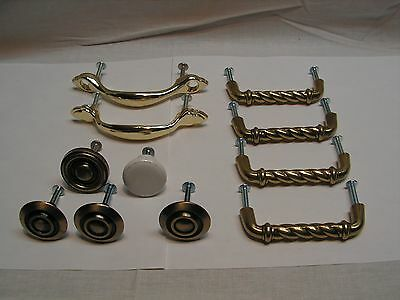 Lot of 11 Vintage Brass Tone Die Cast/White Porcelain Drawer Pulls/Knobs