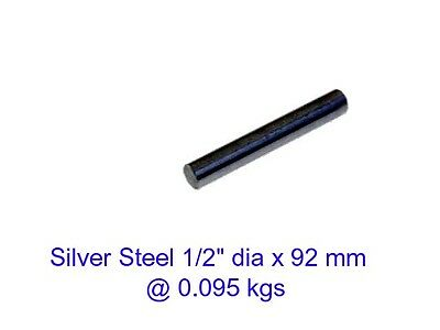 "Silver Steel 1/2"" dia x 92 mm ( Water W1 ) -Tools-Lengths-Lathe-Mill-Steam"