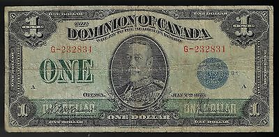 1923 DOMINION OF CANADA $1 ONE DOLLAR DC-25c BLUE SEAL G-232831 MCCAVOUR SAUNDER