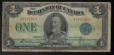 1923 Dominion Of Canada $1 One Dollar Dc-25H Blue Seal