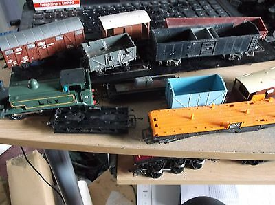 Scrap Yard Of Wagons And Locomotive As No Motor And As Been Painted