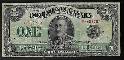 1923 Dominion Of Canada $1 One Dollar Dc-25F Black Seal Mccavour Saunder