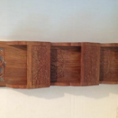 Vintage India Rosewood Hand Carved Hanging Letter Bill Holder