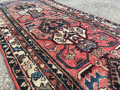 2x10 HAND KNOTTED PERSIAN IRAN HERIZ RUG RUNNER ANTIQUE WOVEN 2 x 10 wool 3 9 11