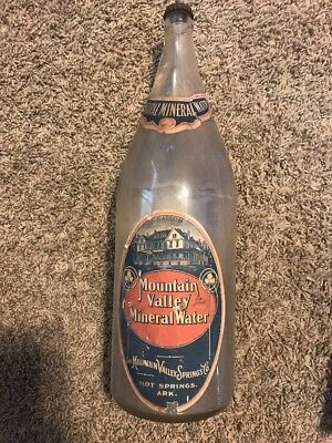 Vintage Glass Bottle Mountain Valley Mineral Water Hot Springs ARK 1/2 Gallon