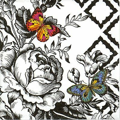 4x Paper Napkins for Decoupage Party, Decopatch Craft - Butterfly Toile