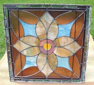 Antique Leaded Stained Glass Window w/ Bright Floral Design + Sturdy Metal Frame
