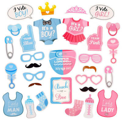 Baby Shower Photo Booth Props It Is A Boy Girl Party Decor Stick Mask Newborn