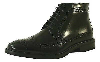La Milano Men's Wing Tip Oxford Lace Up Black Leather Dress Boots B51102