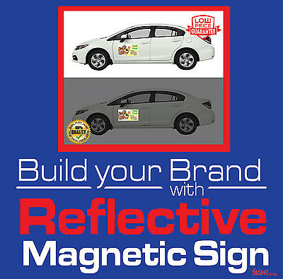 """2- 12"""" x 12"""" Custom Reflective Car Magnets Magnetic Auto Truck Signs"""