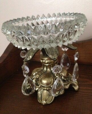 Antique Vintage Glass Candy Dish With Metal Base And Glass Prisms