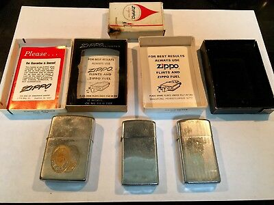 Vintage Zippo Lighters With Boxes   Lot Of Three 3