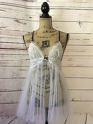 NEW Victoria's Secret Pink Sheer Bow Lace Babydoll Dress Lingerie Size M