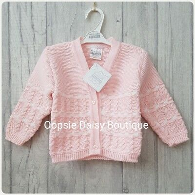 Baby Girls Lovely Pink & White Cable Knitted Cardigan ☆
