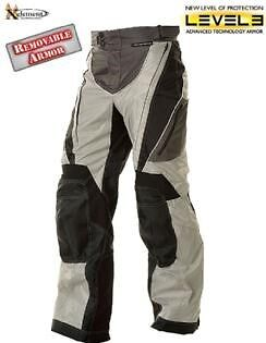Xelement Advanced Black & Silver Tri-Tex Fabric Motorcycle Pants  Level-3 Armor