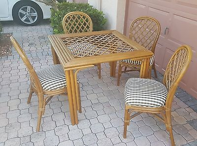 RATTAN BAMBOO SET of 4 CHAIR & BREAKFAST / CARD TABLE w/ INTERWOVEN LATTICE WORK