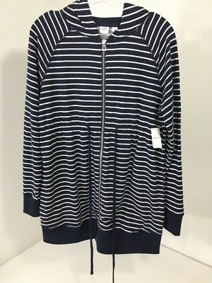 Gap Maternity Women's Essential Zip Up Striped Hoodie Navy/white Small Nwt