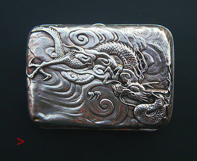 1900 Antique Chinese solid Silver hammered Dragon Motif Cigarette Case /88g