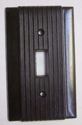 Vintage Uniline Hubbell Bryant Ribbed Bakelite Brown Switch Plate Cover Art Deco