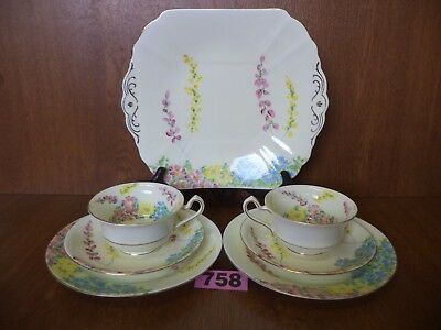 Art Deco Hand Painted Radfords Fenton China - Twin Handled Cake Serving Plate