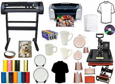 "8in1 Combo Heat Transfer Press,24"" 500g METAL Vinyl Plotter Cutter,Printer,Refil"