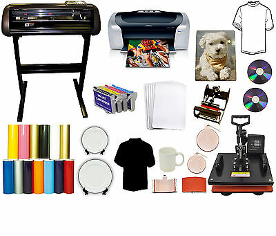5in1 Heat Press 24 Metal Vinyl Cutter Plotter,Printer,Refil Ink PU,Tshirt Bundle