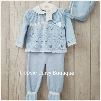 Babys Gorgeous Blue Spanish Knitted 3 Piece Suit with Bonnet ☆