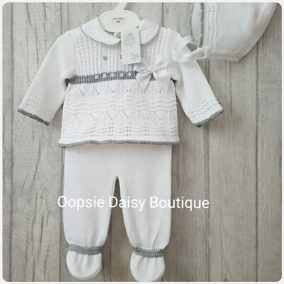 Babys Gorgeous White Spanish Knitted 3 Piece Suit with Bonnet ☆