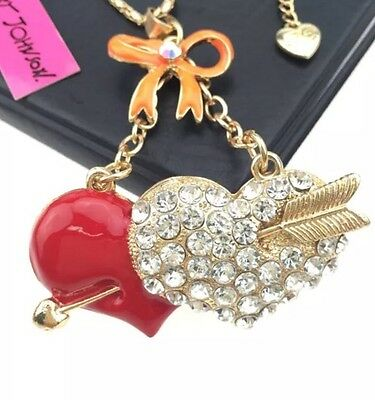 Betsey Johnson Necklace Red Crystal Orange Heart Arrow Gift Box & Organza Bag