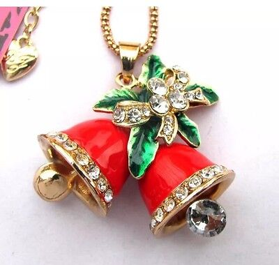 Betsey Johnson Necklace BELLS OF CHRISTMAS RED Gold Red Enamel Christmas Bells