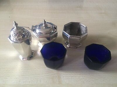 Art Deco Sterling Silver 3 Piece Condiment Set