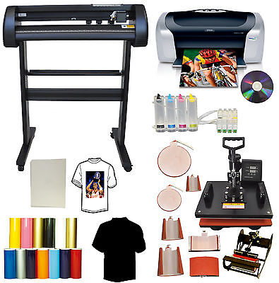 "8in1 Combo Heat Press,24"" Laser Point Metal Vinyl Cutter Plotter,Printer,CISS,PU"