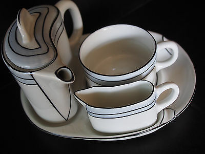 Lang Ebrach Mid Century Abstract Brutalist Tea Set Teapot Creamer Cup Tray x One