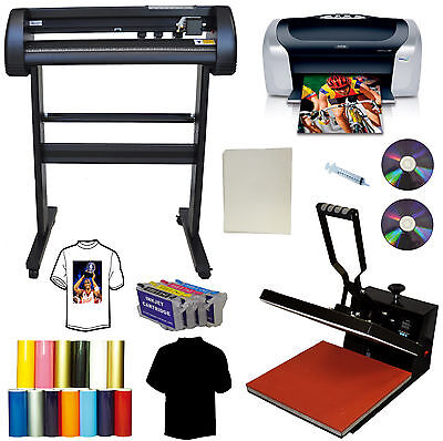 "24"" 500g LaserPoint Vinyl Cutter Plotter,15x15"" Heat Transfer Press,Printer,Ink"