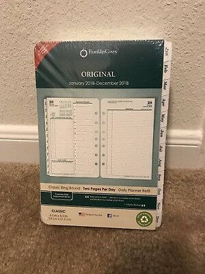 Franklin Covey Original White Tabbed 2018 Planner Refill 2 Page Per Day Classic