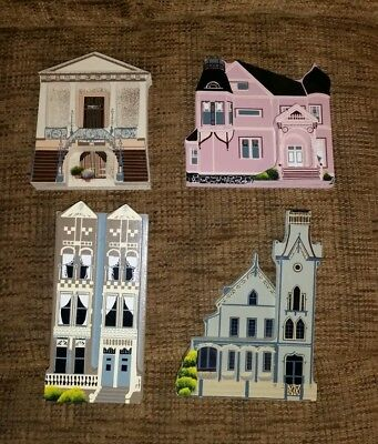 Shelia's collectibles lot of 4 wooden houses shelf sitters painted lady  NEW