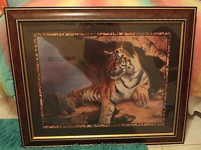 "Home Interior Tiger Safari Picture - 33"" Wide by 27"" High 2003 Made in USA"
